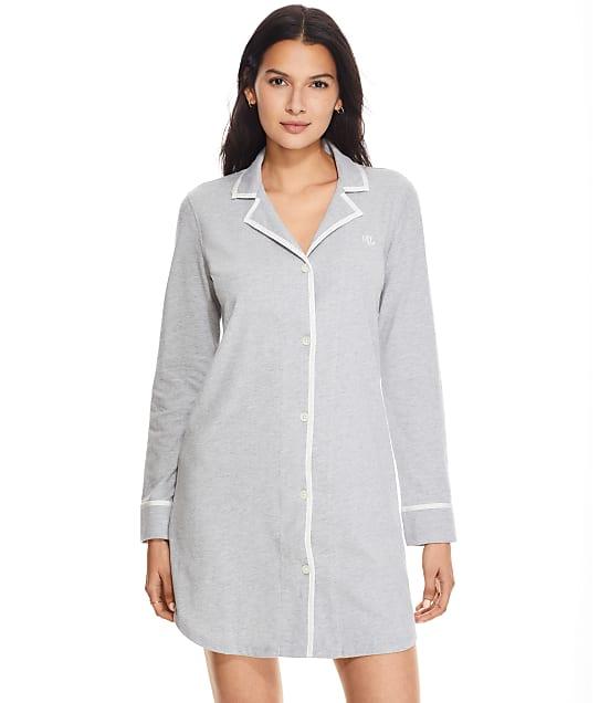 Lauren Ralph Lauren Long Sleeve Knit Sleep Shirt in Grey Heather LN32116