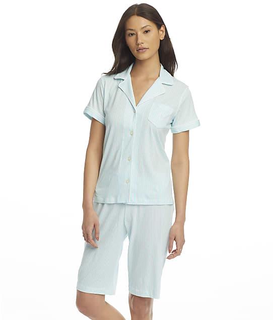 Lauren Ralph Lauren Knit Bermuda Pajama Set in Turquoise Stripe(Front Views) LN72081