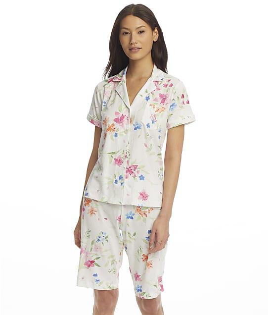 Lauren Ralph Lauren Plus Size Knit Bermuda Pajama Set in White Floral(Front Views) LN72081X