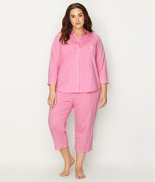 Lauren Ralph Lauren: Plus Size Striped Knit Capri Pajama Set