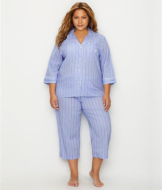 Lauren Ralph Lauren: Plus Size Classic Stripe Woven Pajama Set
