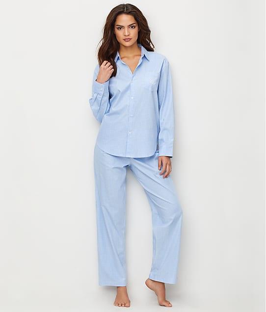 Lauren Ralph Lauren Stretch Woven Pajama Set in Blue Check LN91549