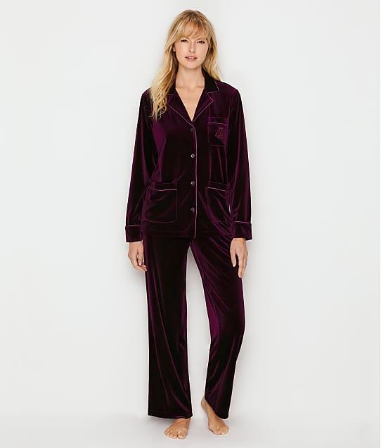 Lauren Ralph Lauren Velvet Pajama Set in Wine LN91755