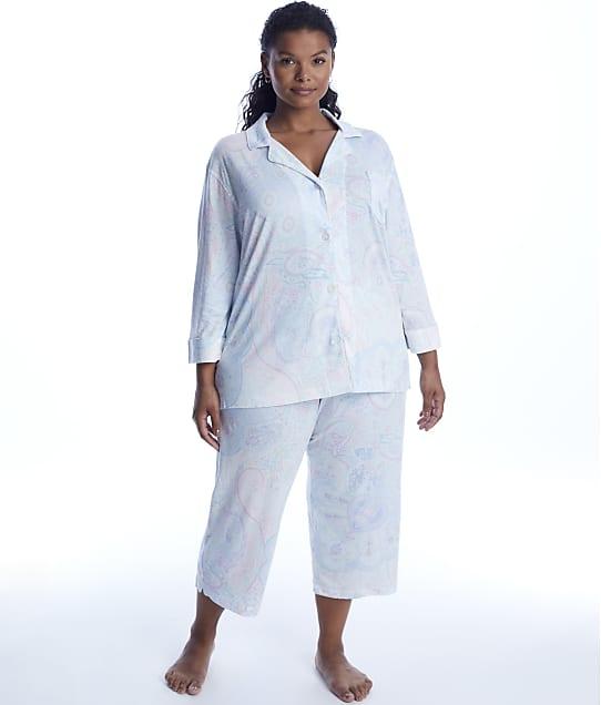 Lauren Ralph Lauren: Plus Size Paisley Woven Cropped Pajama Set