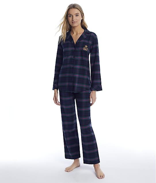 Lauren Ralph Lauren: Green Plaid Brushed Twill Pajama Set