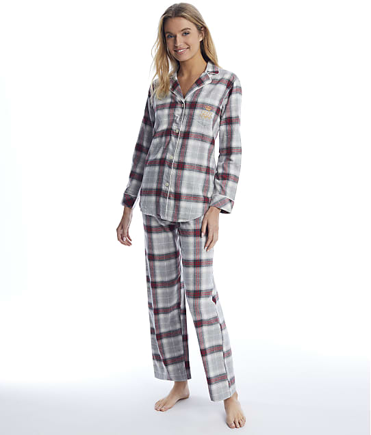 Lauren Ralph Lauren: Grey Plaid Brushed Twill Pajama Set