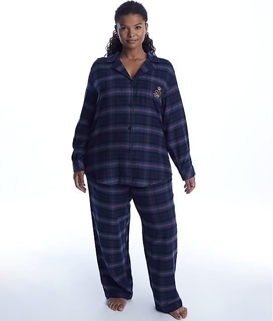 Lauren Ralph Lauren: Plus Size Green Plaid Brushed Twill Pajama Set