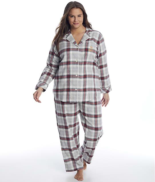 Lauren Ralph Lauren: Plus Size Grey Plaid Brushed Twill Pajama Set