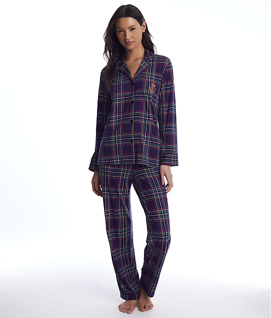 Lauren Ralph Lauren: Purple Plaid Knit Pajama Set