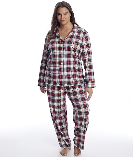 Lauren Ralph Lauren: Plus Size Ivory Plaid Knit Pajama Set