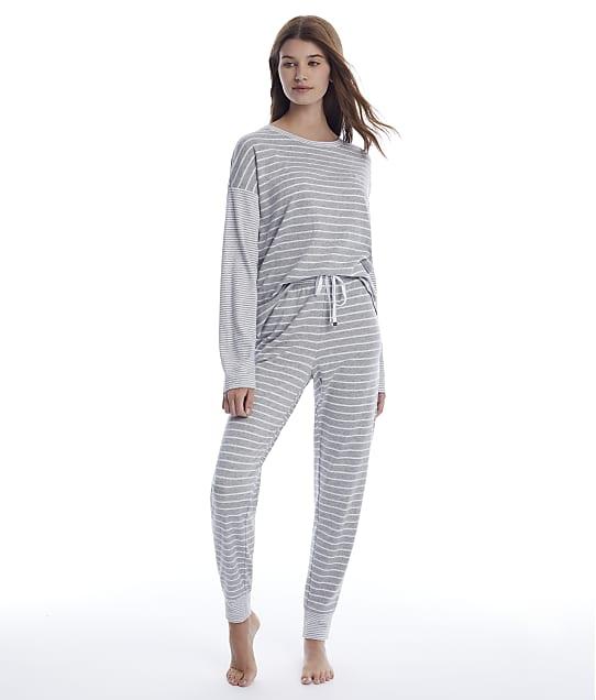 Lauren Ralph Lauren Interlock Knit Pajama Set in Grey Stripe(Front Views) LN92042-GRY