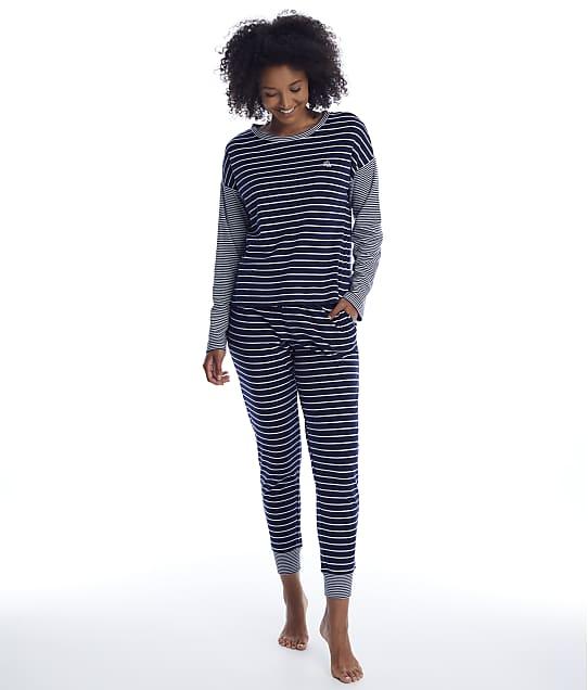 Lauren Ralph Lauren Interlock Knit Pajama Set in Navy Stripe(Front Views) LN92042-NAVY