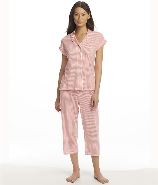 Lauren Ralph Lauren Dolman Knit Capri Pajama Set in Coral Stripe(Front Views) LN92063