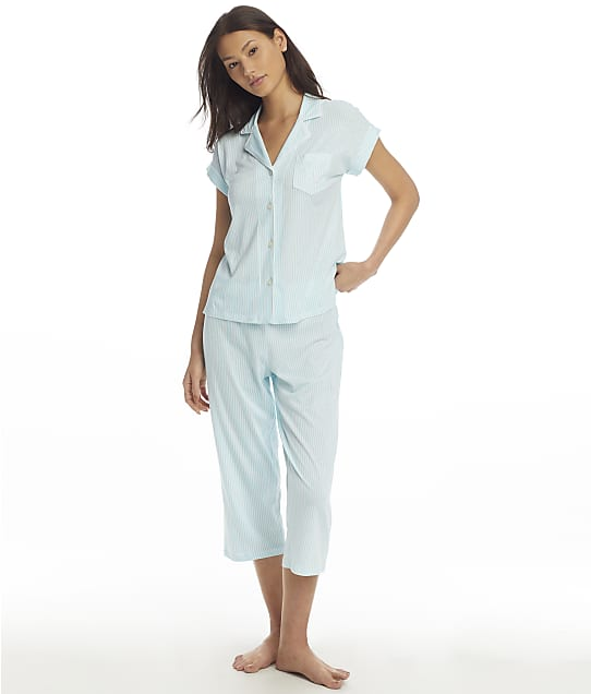 Lauren Ralph Lauren Woven Notch Collar Capri Pajama Set in Turquoise Stripe LN92081