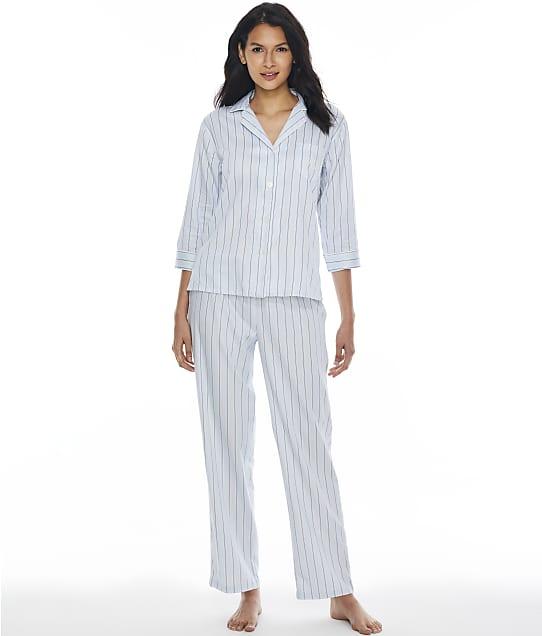 Lauren Ralph Lauren Blue Stripe Woven Pajama Set in Blue Stripe(Front Views) LN92102