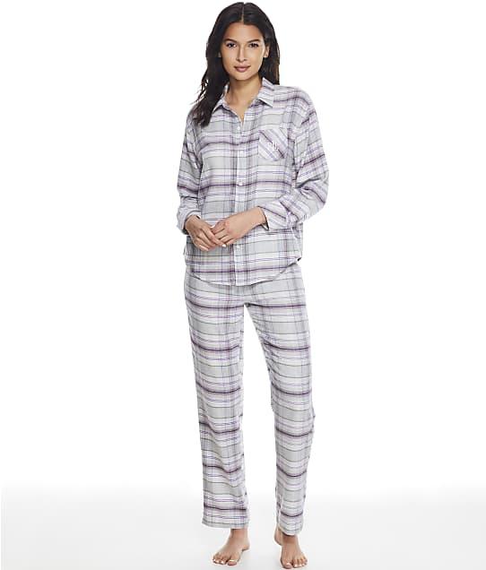 Lauren Ralph Lauren His Shirt Flannel Pajama Set in Grey Plaid(Front Views) LN92113