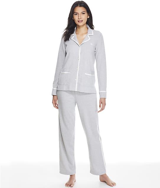 Lauren Ralph Lauren Notch Collar Knit Pajama Set in Grey Heather LN92116