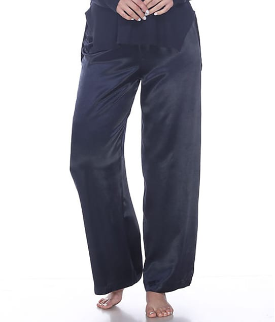 PJ Harlow Lola Satin Lounge Pants in Navy(Front Views) LOLA