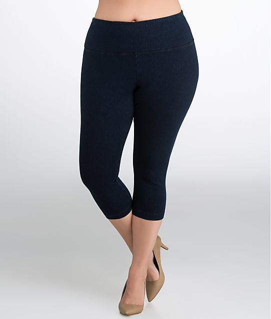 lyssé medium control denim capri leggings plus size daywear