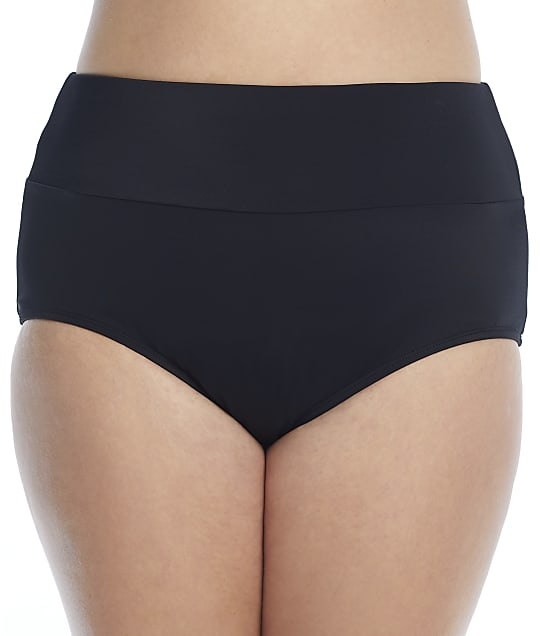 Maxine of Hollywood Plus Size Solids Banded Full Bikini Bottom in Black MW1PJ95