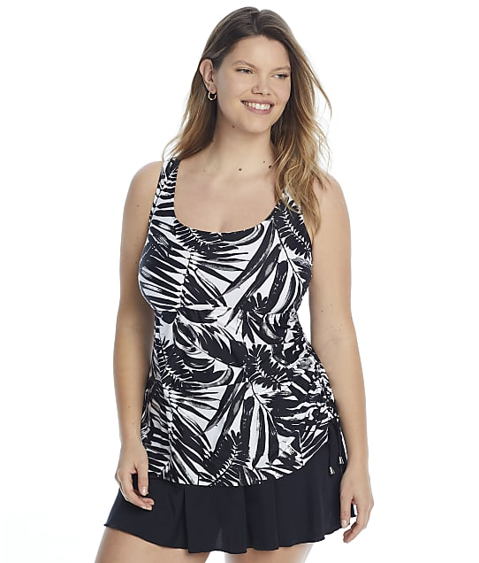 Maxine of Hollywood Plus Size Shadow Leaves Tank Swimdress in Black(Full Sets) MW1PL77
