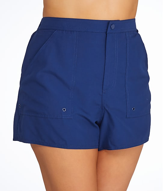 Maxine of Hollywood Plus Size Solid Woven Boardshort in Navy(Front Views) MW6NL53W