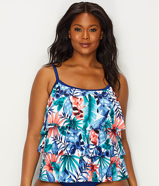 Maxine of Hollywood: Plus Size Palmetto Tiered Tankini Top