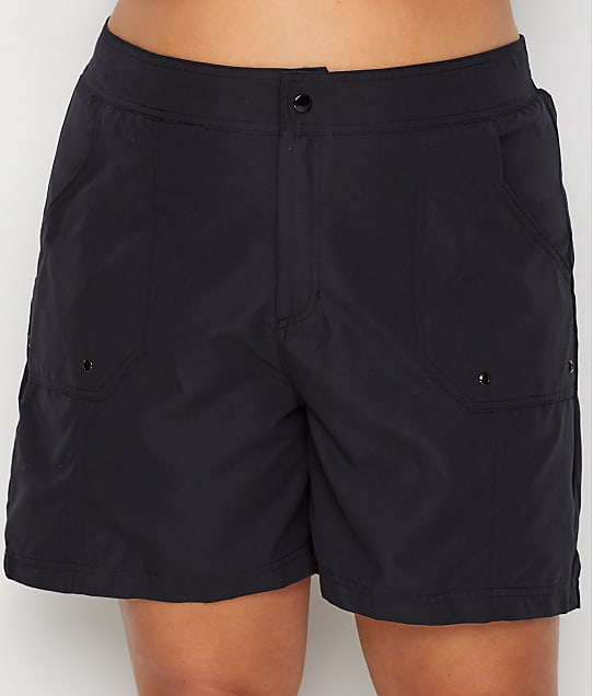 Maxine of Hollywood: Plus SIze Solids Long Woven Boardshort