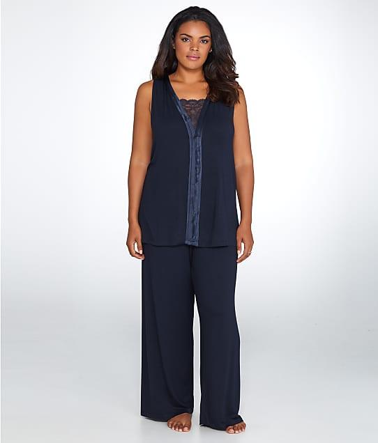 Midnight by Carole Hochman: Plus Size Satin And Lace Modal Pajama Set