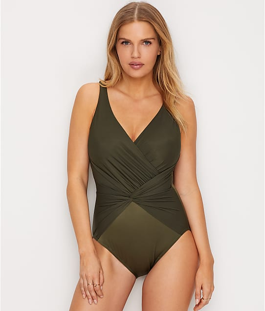 Miraclesuit Rock Solid Twister One-Piece in Olive 6523048