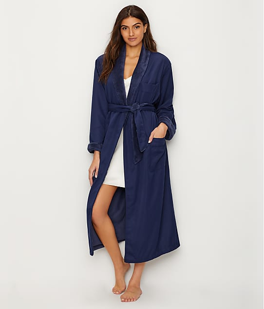 Monarch Cypress Microfiber Plush-Lined Spa Robe in Navy 770