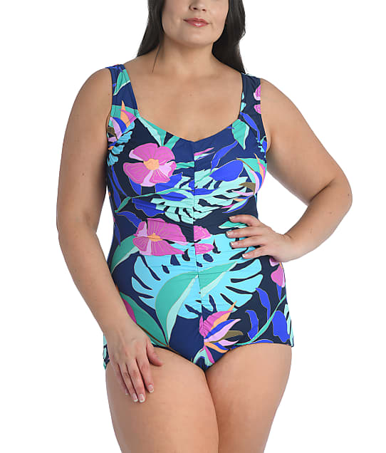 Maxine of Hollywood Plus Size Jungle Oasis Girl Leg One-Piece in Navy(Full Sets) MW1PC20