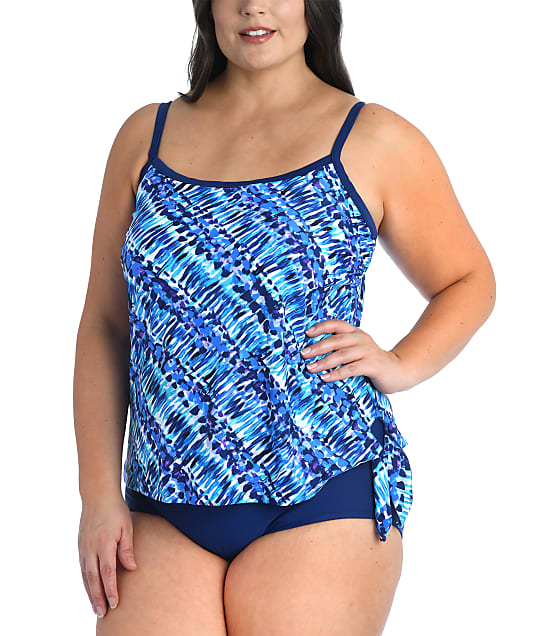 Maxine of Hollywood Plus Size Sticks & Stones Faux Tankini One-Piece in Navy(Full Sets) MW1PN12