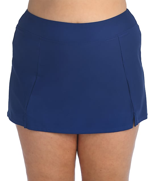 Maxine of Hollywood Plus Size Solids Skirted Bikini Bottom in Navy(Front Views) MW6NK56