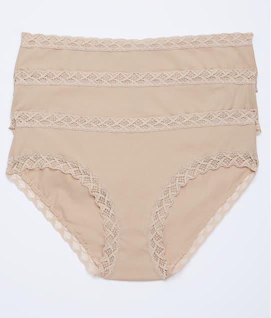 Natori Bliss Cotton Girl Brief 3-Pack in Cafe(Front Views) 156058MP