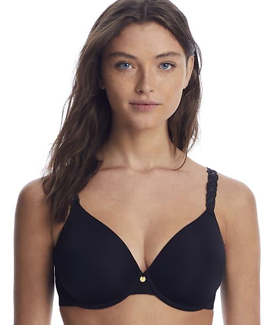 Natori Pure Luxe T-Shirt Bra in Black(Front Views) 732080