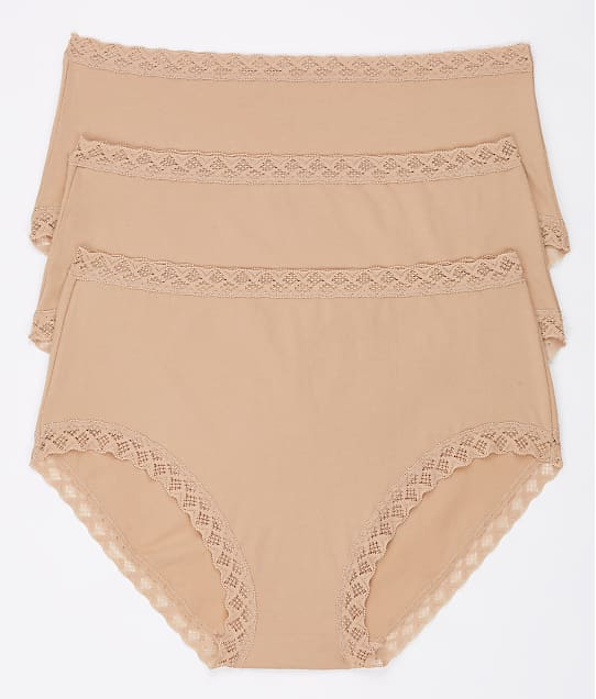 Natori Bliss Cotton Full Brief 3-Pack in Cafe(Full Sets) 755058MP