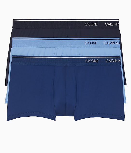 Calvin Klein CK One Low Rise Trunk 3-Pack in Blue Assorted NB2390
