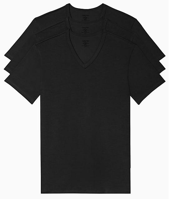 Calvin Klein Cotton Stretch V-Neck T-Shirt 3-Pack in Black(Front Views) NB2799