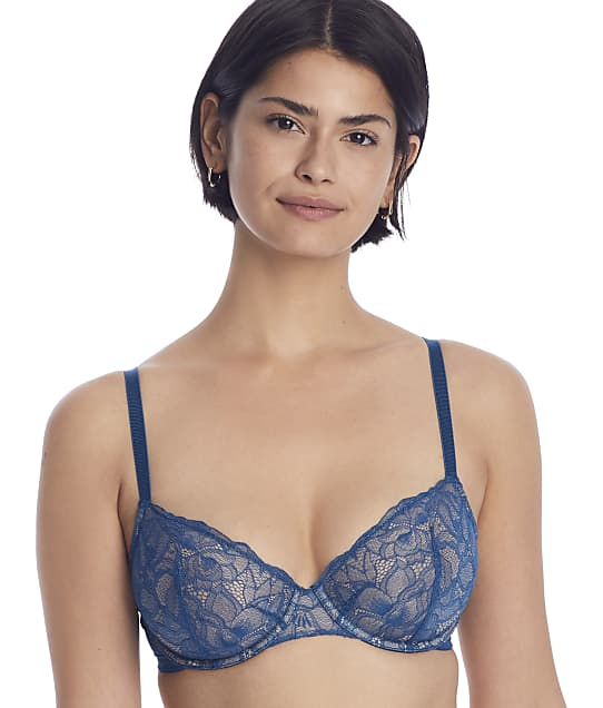 NearlyNude The Poppy Lace Demi Bra in Peacock(Front Views) RN70006