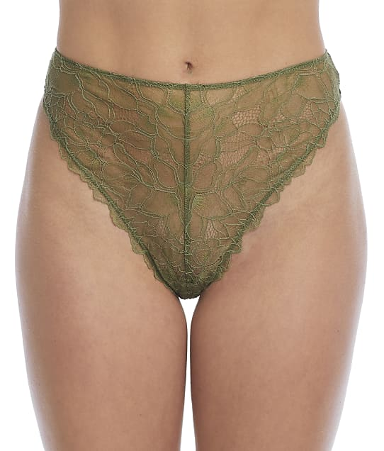 NearlyNude The Poppy Lace High-Waist Brief in Fern(Front Views) RNN39
