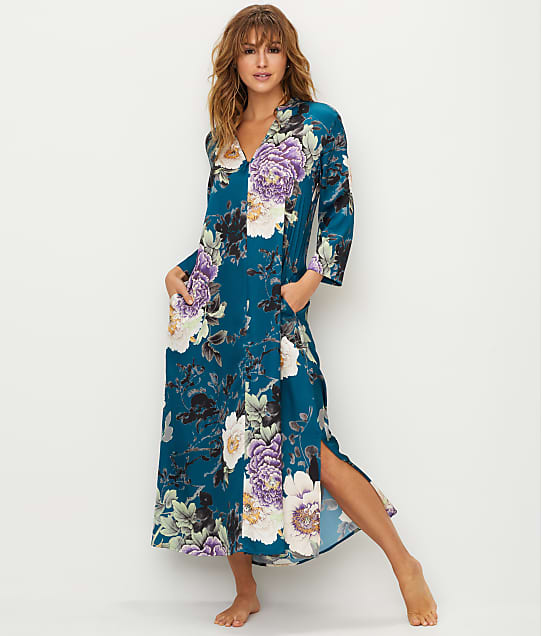 N Natori: Floral Dynasty Satin Zip-Up Caftan
