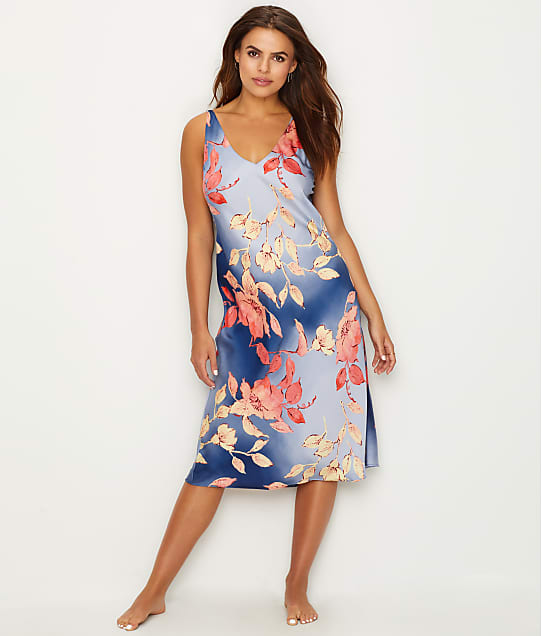 N Natori Ombre Floral Satin Night Gown in Caribbean / Coral EC3025