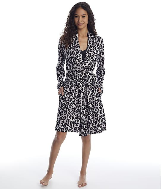 N Natori: Ombre Charcoal Leopard Plush Robe