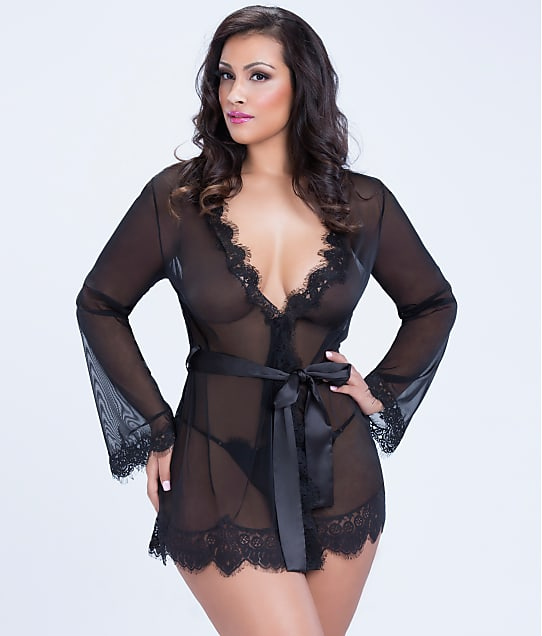 Oh La La Cheri: Plus Size Eyelash Lace Robe Set