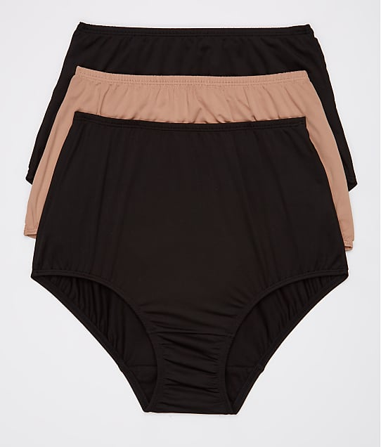 Olga Without A Stitch Microfiber Brief 3-Pack in Black /Taupe / Black 23173J