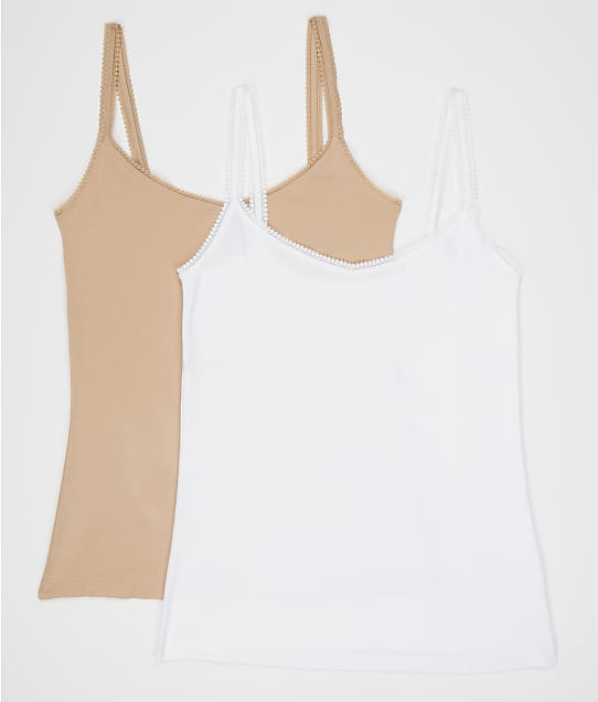OnGossamer Cabana Cotton Camisole 2-Pack in Champagne / White 1427P2