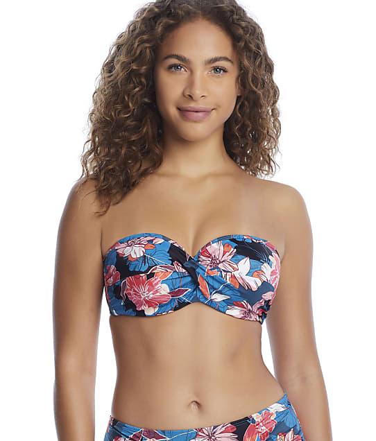 Panache Anya Riva Print Twist Bandeau Bikini Top in Blue Floral(Front Views) SW1403