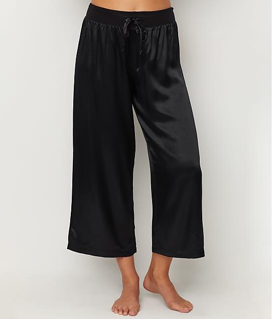PJ Harlow Jolie Satin Capri Lounge Pants in Black JOLIE CAPRI