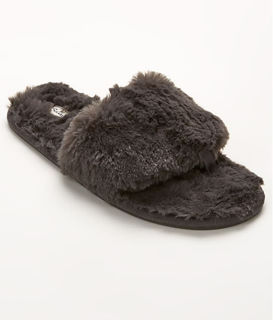 P.J. Salvage Faux Fur Slippers in Charcoal REFUSL1
